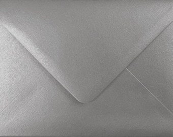 100 Premium Silver Metallic Envelopes by Mad as a Crafter  (Various sizes)