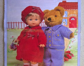 King Cole Knitting Patterns. 12 Fun Outfits for your Favourite Doll and Teddy. Knitted Woollen Outfits Patterns for Toys. King Cole 618