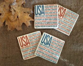 USA United States Coaster Set, Tile Coasters, Drink Coasters, Travertine Coasters, Souvenir Coasters