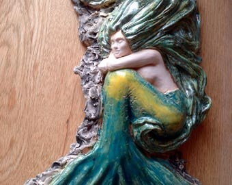 Dreaming mermaid, one off hand made ceramic artwork