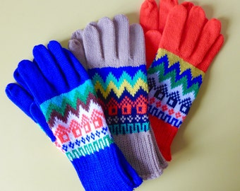 Vintage 1980's Retro Winter Gloves - New Old Stock - Size Small Adult - Bright Orange/Bright Blue/Beige