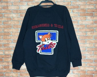 Rare!!! Vintage SegaSonic And Tails Embroidery Sweatshirt Pullovers Crewneck Vtg Super Sonic Cartoon Jacket