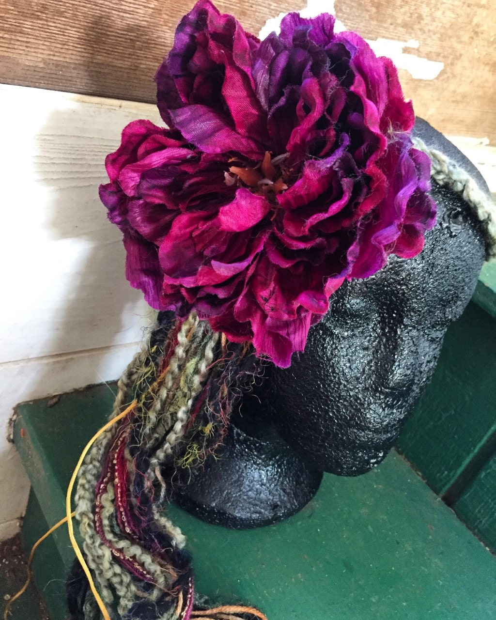 Colorful Purple Flower Crown Made From Recycled Yarn And Flowers