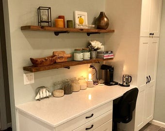 "10"" Depth Industrial Kitchen Floating Shelf, Long Rustic Shelve, Wood and Pipe Shelf, Kitchen and Bathroom or Study Wall Shelve"