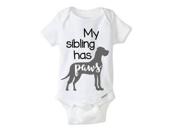 customizeable My sibling has paws onesie
