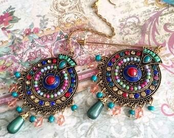 Hijab pin/tikka, head chain, Indian jewellery.