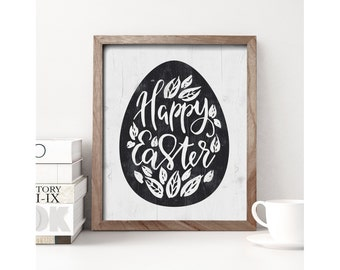 Happy Easter sign, Easter decoration, Easter eggs sign, Christian wall art, religious Easter wood sign, Easter photo prop, DIGITAL PRINT