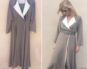 Vintage Silk Dress / Linda Allard for Ellen Tracy / 80s Silk Wrap Dress / 1980s Minimalist