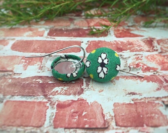 White Flowers on Green. Vintage Green Fabric. Handmade Earrings. Fabric Button Earrings. Gifts For Her. Stud Earrings. Clip On Earrings.