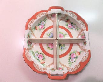 Divided Porcelain Dish with Side Handles Marked  JAPAN beneath Hallmark