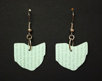 Upcycled Card Earrings - Mint Ohio