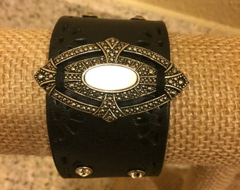 Black Leather Embellished Cuff with antique brooch