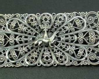 Unusual Antique Rectangular Openwork Brooch Crown Above Dachshund Dog