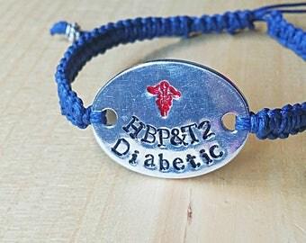 Medical Alert Bracelet, Medic Alert, Diabetic Bracelet, Macrame Bracelet, Aluminum Bracelet, Custom Bracelet