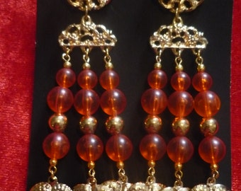 Earrings with Brown Pearl imitation