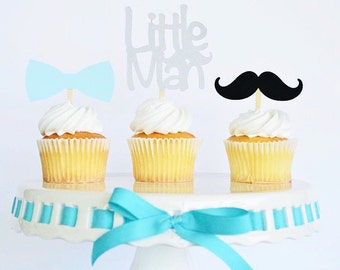 Little Man Cupcake Toppers / Little Mister 1st Birthday / Dessert Table / Little Guy / Baby Shower Party Decor / Mustache Bash / One / 12