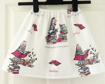 MATILDA Handmade Skirt in Roald Dahl Print
