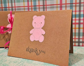 Baby thank you card, bear / pack of 4