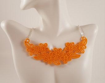 Orange lace necklace Lace jewelry Orange necklace Bib Necklace Statement necklace Bridesmaids gift Large necklace Bib lace jewelry Necklaces