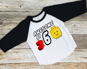 Awesome Lego Birthday.  Lego Awesome Shirt. Awesome Lego Shirt. Lego party shirt. Lego themed shirt. Lego birthday shirt.