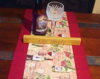 Rustic Maroon Wine Themed Table Runner