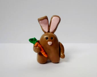 Polymer Clay Miniature Brown Bunny Figurine