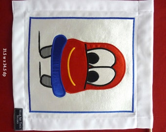 Kid's Wall-hanging - Applique Textile Art – cute CAR. Perfect Gift for baby boy, birthday, child, Christening.