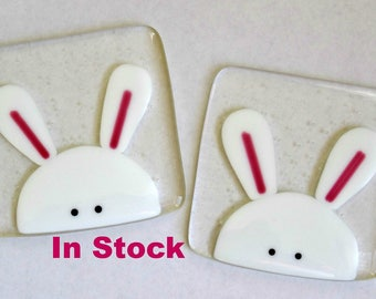Easter rabbit coaster, fused glass coaster, Easter bunny, drinks mat, Easter gift for her, stained glass art, uk seller, home decor