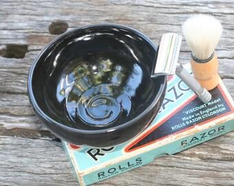 Ceramic shaving bowl - handmade pottery, black