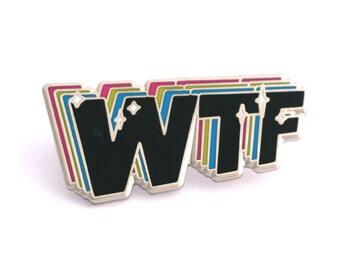 WTF enamel pin, typographic pin, typography lover, funny pin, hard enamel pin, pin collector, bag decoration pin, typography enamel pin