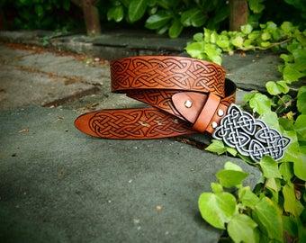 celtic knot belt, leather brown belt, viking belt