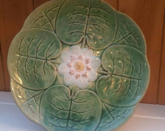 Majolica plate/ water lily plate / excellent condition /victorian majolica display plate/ships worldwide from UK