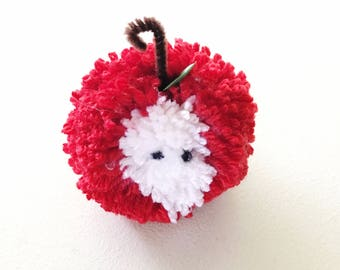 Teacher pom pom apple- end of the year teacher apple- apple teacher gift- teacher appreciation pom pom apple