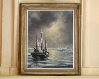 Authentic oil painting Robert Frenay - French marine art - Vintage ship and sea painting