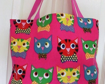 Shopping Bag, Tote Bag, Cerise Pink Cat Design, Strong Canvas