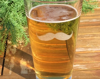 Pint Glass-Mixing Glass-Beer Glass-Mustache-Engraved-Gift For Men