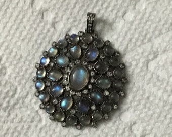 Pave white topaz labrorite sterling silver pendant