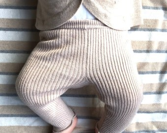 Ribbed Organic Cotton/cashmere babies fine knit trousers
