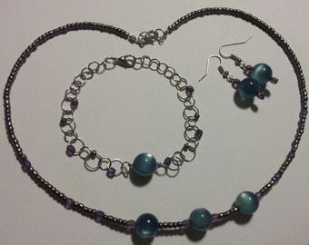 3 Piece Jewelry Set (Blue and Purple)