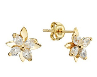 14k Solid Yellow Gold Stud Earrings Posis 7924 Charming Flower Design Lovely