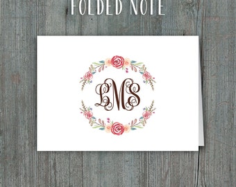 Printable Thank You Cards or Folded Notes • Watercolor Floral Wreath