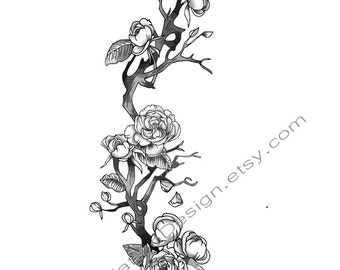 Rose Branch Rib Cage Tattoo Design
