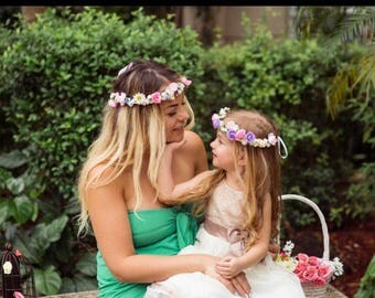 girls floral headband, baby girl floral flower headband, toddler floral crown, leaves headband, flower hola, birthday wedding headband