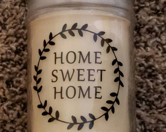 Leaf Circle Decal with Home Sweet Home- perm. vinyl - Use for home decor, planters, housewarming gifts, candles, signs, realtor gifts etc.