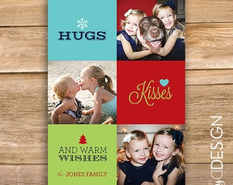 Hugs, Kisses and Warm Wishes Christmas Card, Personalized Photo Christmas Card, Photo Holiday Card, snowflakes, printable, instant download