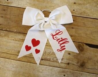 Personalized Valentine's Day heart bow, Custom Heart Bow, Heart Bow, Personalized Heart Bow,Cheer Bow, Custom Bow, Girls Hair Bow