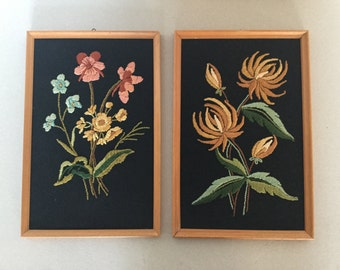 Set of 2 mid century 60's 70's images with embroidery in a wooden frame
