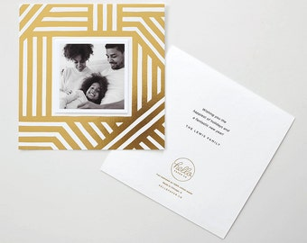 Bold Stripes Gold Foil Stamped Holiday Photo Card