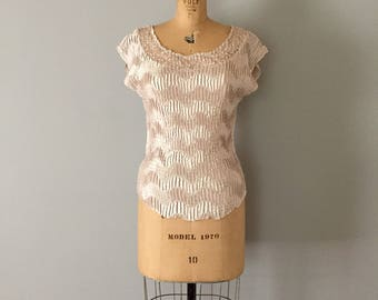 champagne scrunched top | lace pleated top