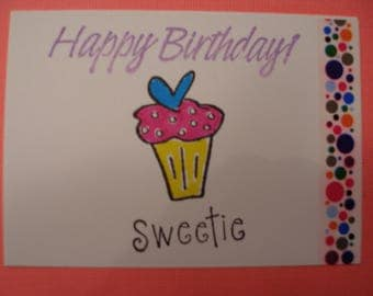 ACEO HAPPY BIRTHDAY Artist trading card Cupcake Sweetie